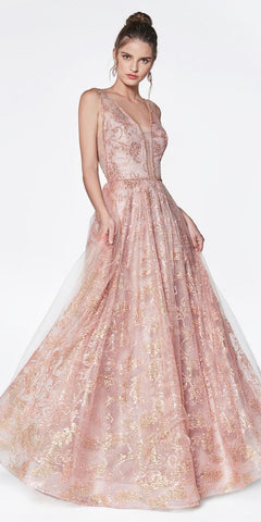 7d9766df8c Glitter Print Ball Gown Rose Gold Deep Plunge Neckline And Illusion Sheer  Sides