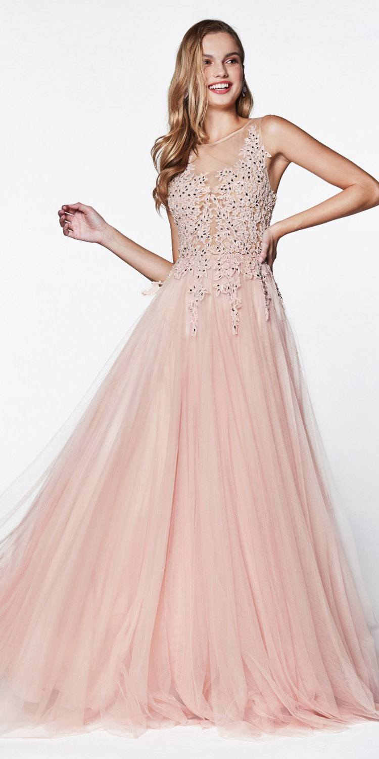 62105320402 Cinderella Divine CJ501 A-Line Ball Gown Rose Floor Length Tulle Skirt Jeweled  Lace Bodice ...