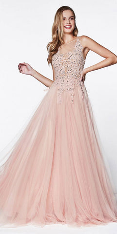 Cinderella Divine CJ501 A-Line Ball Gown Rose Floor Length Tulle Skirt Jeweled Lace Bodice