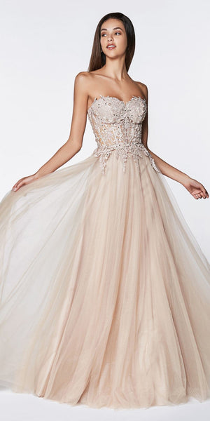 Cinderella Divine CJ502 Long Strapless Prom Gown Mauve With Lace Bodice Tulle A-Line Skirt