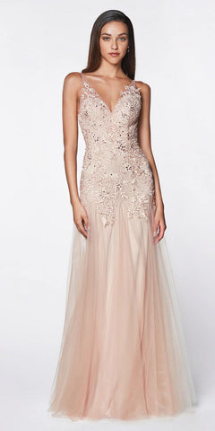 Cinderella Divine CJ503 Floor Length Drop Waist Gown Soft Mauve Lace Bodice Tulle Godet Skirt