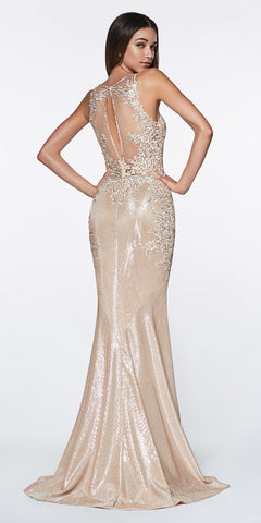 Cinderella Divine CJ504 Fitted Metallic Mermaid Gown Champagne Beaded Lace Deep Neckline