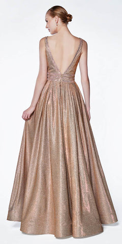 Cinderella Divine CJ505 A-Line Metallic Ball Gown Copper Beaded Bodice Detail Deep V-Neckline