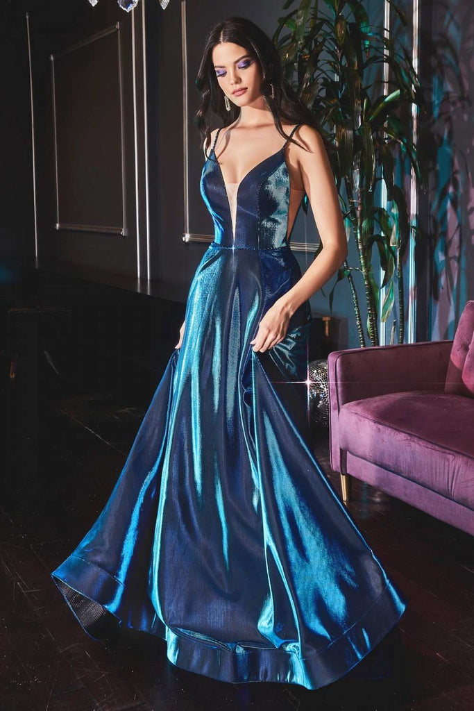 Cinderella Divine CJ506 Long Shimmery Teal Formal A-Line Dress Cut Out Sides Thin Straps