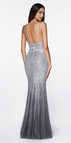 Cinderella Divine CJ509 Long Fitted Glitter Gown Silver Grey With Ombre Effect And Beaded Belt
