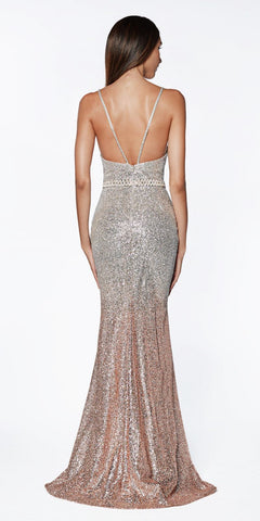 Cinderella Divine CJ509 Long Fitted Glitter Gown Silver Rose Gold With Ombre Effect And Beaded Belt