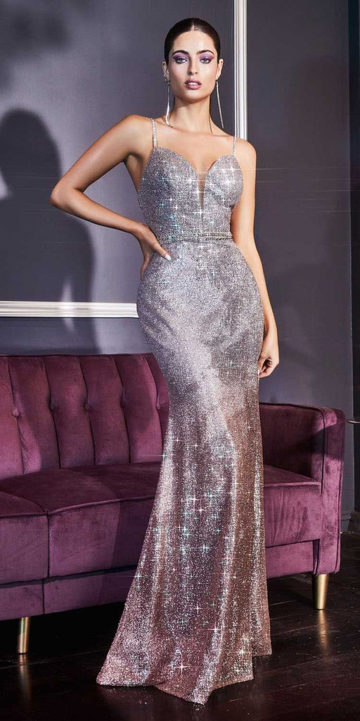 Cinderella Divine CJ509 Long Silver/Rose Gold Ombre Glitter Prom Dress Plunging Neck Beaded Bodice