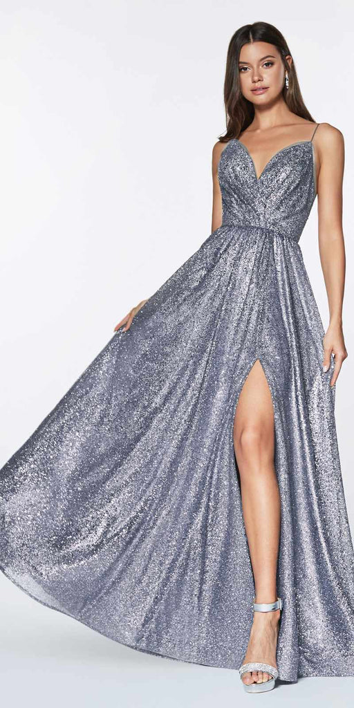 Cinderella Divine CJ510 A-Line Fully Glittered Gown Charcoal Sweetheart Neckline And Leg Slit