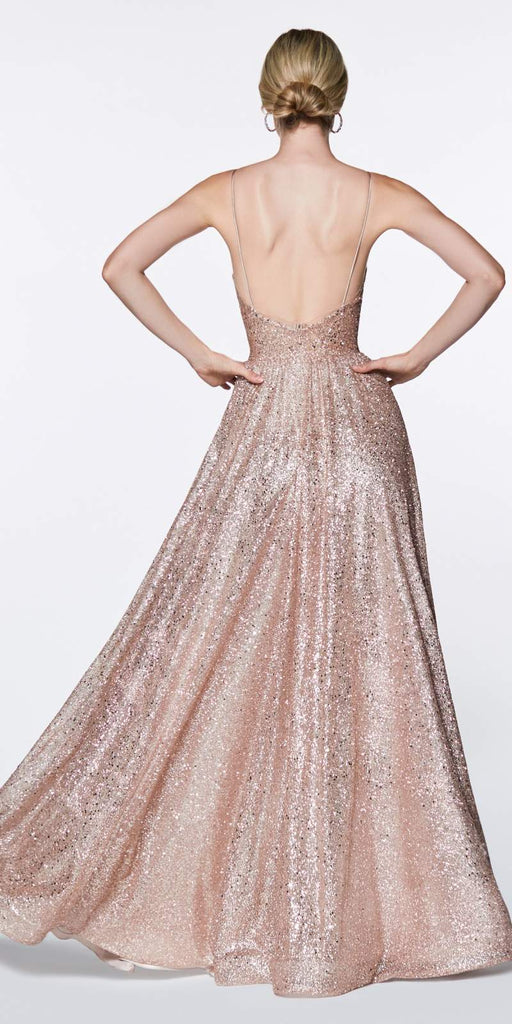 Cinderella Divine CJ510 A-Line Fully Glittered Gown Rose Gold Sweetheart Neckline And Leg Slit