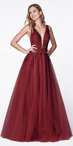 Cinderella Divine CJ511 Long Tulle A-Line Gown Burgundy V-Neck Jeweled Lace