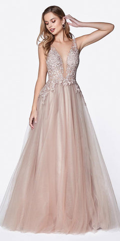 Cinderella Divine CJ511 Long Tulle A-Line Gown Mauve V-Neck Jeweled Lace