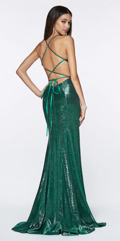Cinderella Divine CJ512 Long Fitted Metallic Gown Emerald Criss-Cross Beaded Back Leg Slit