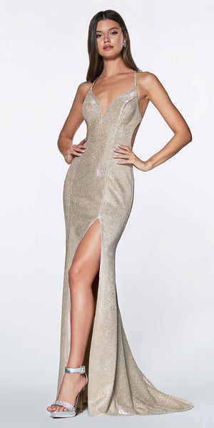 Cinderella Divine CJ512 Long Fitted Metallic Gown Platinum Criss-Cross Beaded Back Leg Slit