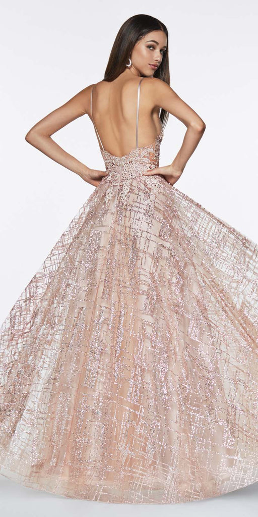 Cinderella Divine CJ515 Glitter Ball Gown Rose Gold With Lace Bodice Details And Plunging Neckline