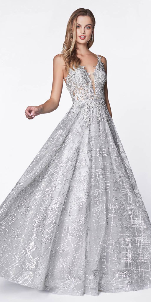 Cinderella Divine CJ515 Glitter Ball Gown Silver With Lace Bodice Details And Plunging Neckline