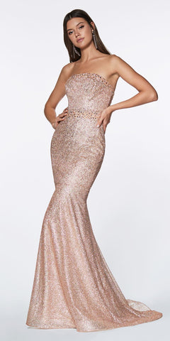 Cinderella Divine CJ516 Floor Length Strapless Mermaid Gown Rose Gold Flocked Glitter Fabric