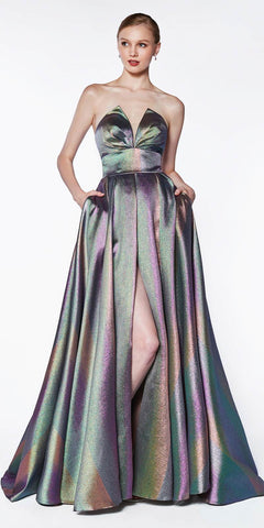 CJ518 Glitter Rainbow Floor Length Gown V Notch Strapless Slit