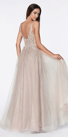 Cinderella Divine CJ520 Long A-Line Tulle Prom Gown Mauve Beaded Lace Bodice