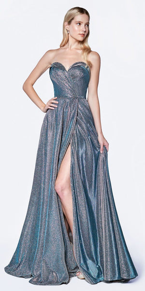 Cinderella CJ521 Metallic Strapless A-Line Ball Gown Teal Sweetheart Neckline Leg Slit