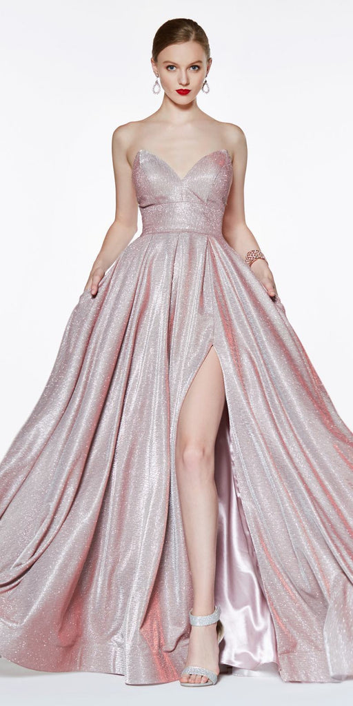 Cinderella Divine CJ522 Floor Length Strapless Glitter Ball Gown Prom Blush Leg Slit