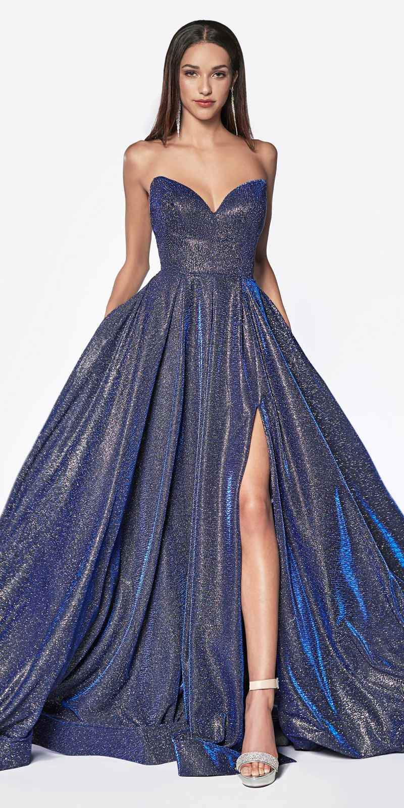 2da246fa Cinderella Divine CJ522 Floor Length Strapless Glitter Ball Gown Prom Dark  Royal Blue Leg Slit ...