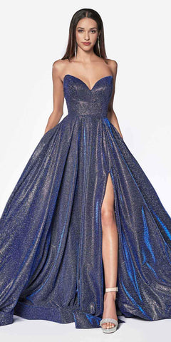 Cinderella Divine CJ522 Floor Length Strapless Glitter Ball Gown Prom Dark Royal Blue Leg Slit