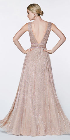 Cinderella Divine CJ524 Long A-Line Metallic Prom Gown Mauve Side Cut Out V-Neckline