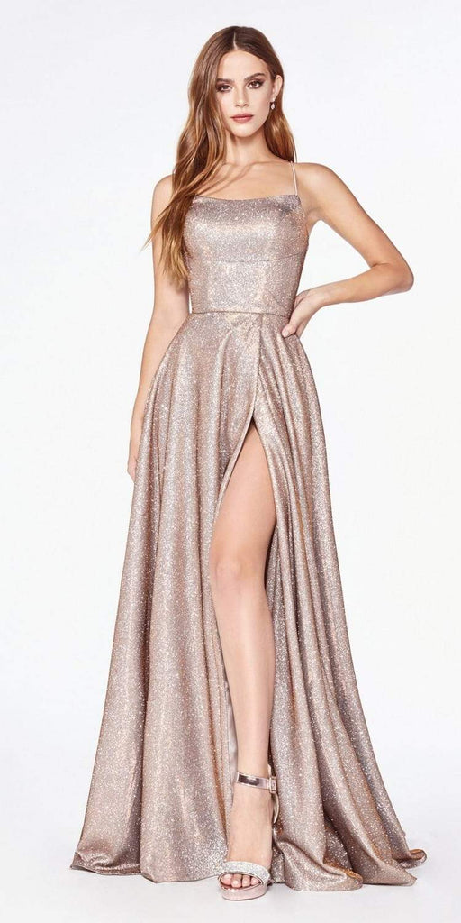 Cinderella Divine CJ525 Prom A-Line Metallic Ball Gown Copper Lace Up Back Leg Slit