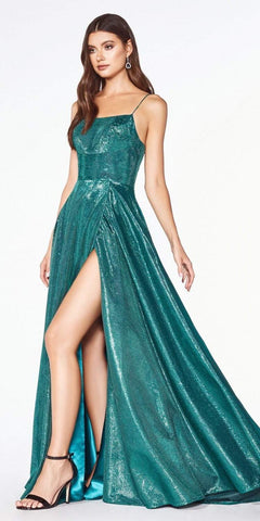 Cinderella Divine CJ525 Prom A-Line Metallic Ball Gown Emerald Green Lace Up Back Leg Slit