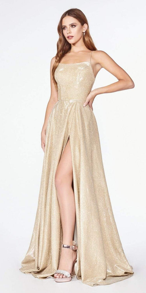 Cinderella Divine CJ525 Prom A-Line Metallic Ball Gown Gold Lace Up Back Leg Slit