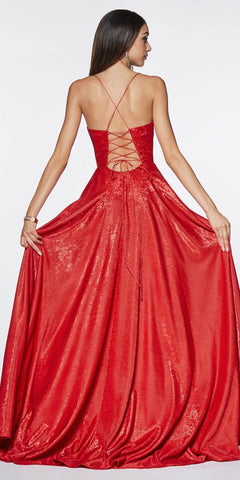 Cinderella Divine CJ525 Prom A-Line Metallic Ball Gown Red Lace Up Back Leg Slit
