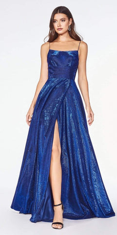 Cinderella Divine CJ525 Prom A-Line Metallic Ball Gown Royal Blue Lace Up Back Leg Slit
