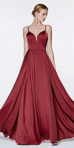 Cinderella Divine CJ526 Floor Length A-Line Satin Gown Burgundy Double Slit Sweetheart Neck