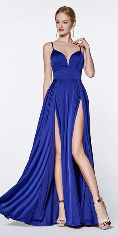 Cinderella Divine CJ526 Floor Length A-Line Satin Gown Royal Blue Double Slit Sweetheart Neck