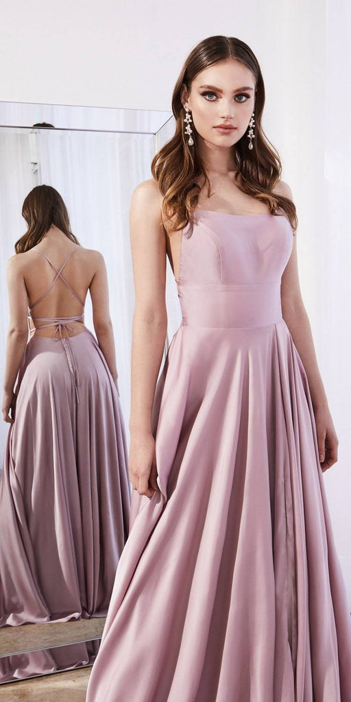 Cinderella Divine CJ527 Long Satin A-Line Dusty Rose Formal Dress Leg Slit Spaghetti Straps