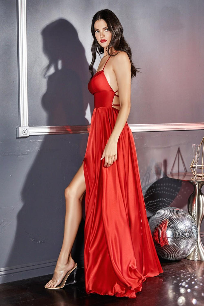Cinderella Divine CJ527 Satin Long A-Line Gown Red Leg Slit Criss Cross Back
