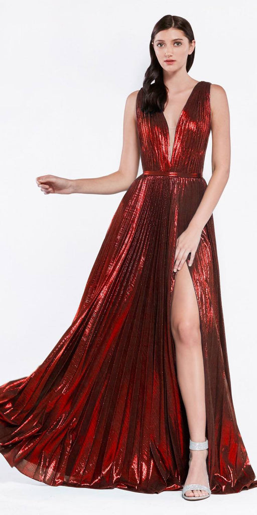 Metallic Pleated Long Prom Dress with Slit Burgundy
