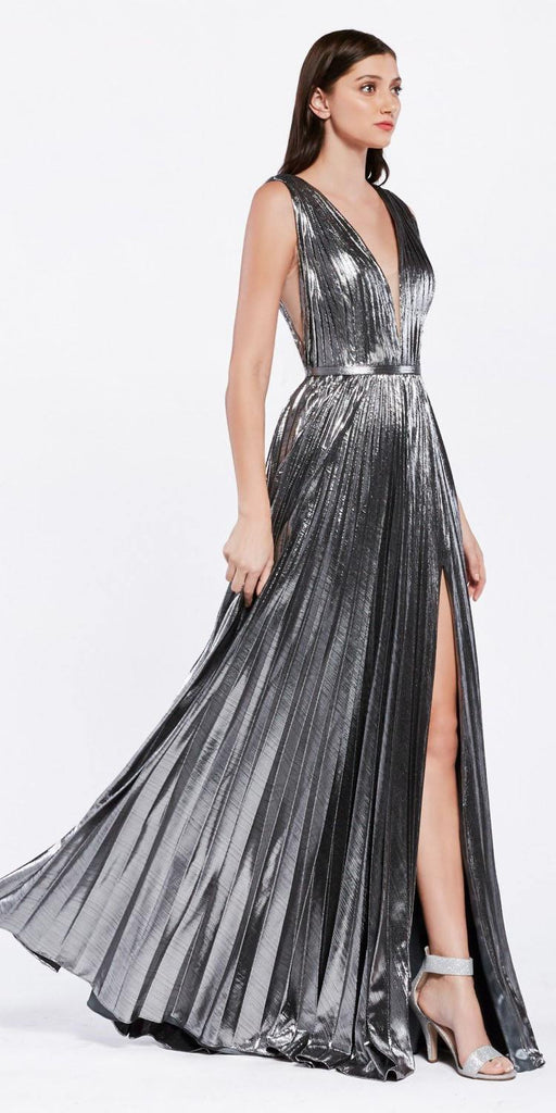 Metallic Pleated Long Prom Dress with Slit Charcoal