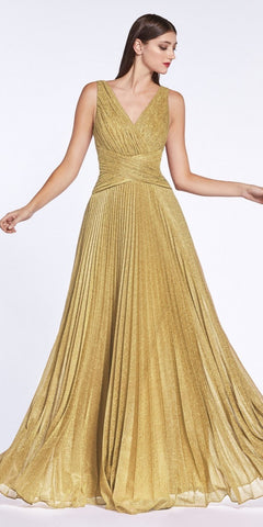 Metallic Pleated Long Prom Dress V-Neck and Back Gold