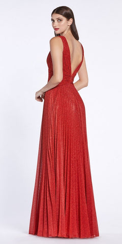 Metallic Pleated Long Prom Dress V-Neck and Back Red