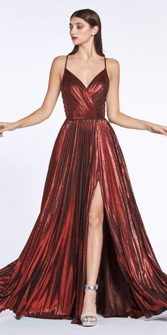Criss-Cross Back with Slit Metallic Long Prom Dress Burgundy