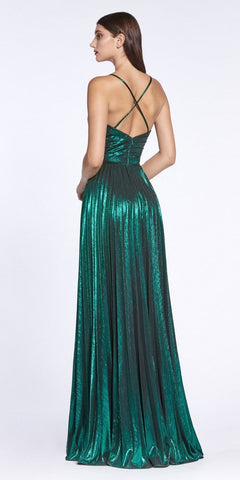 Criss-Cross Back with Slit Metallic Long Prom Dress Emerald Green