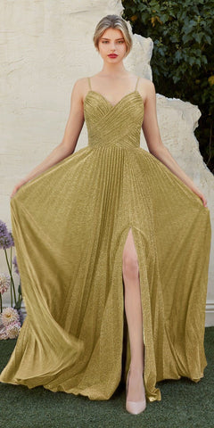 Pleated Metallic Long Prom Dress with Slit Champagne