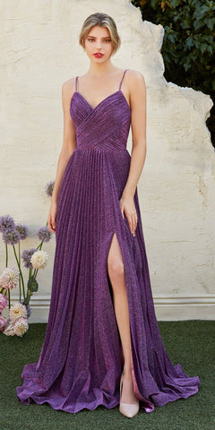 Pleated Metallic Long Prom Dress with Slit Eggplant
