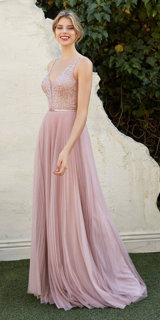 V-Neck and Back Beaded Long Prom Dress Dusty Rose