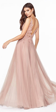 V-Back Appliqued Long Prom Dress Dusty Rose