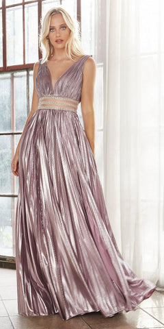 Long A-Line Dress Metallic Blush Plunge Neckline Pleated Skirt