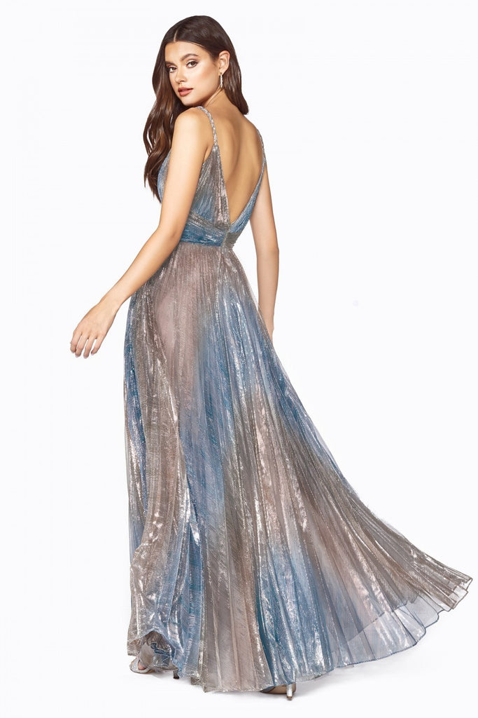 Metallic Blue Pleated Long Prom Dress V-Neck