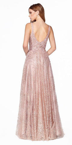 Cinderella Divine CJ540 Long A-Line Gown Rose Gold Embellished Lace Bodice Glitter Print Skirt
