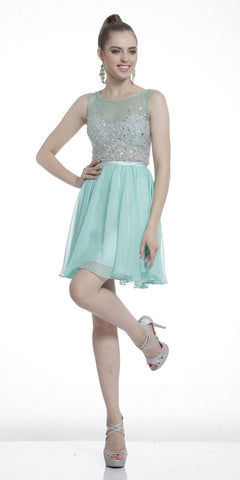 Illusion Beaded Short Homecoming Dress Sleeveless Mint